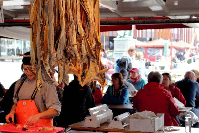 Getrockneter Klippfisch auf dem Fischmarkt